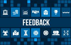 Feedback concept image with business icons and copyspace. Stock Illustration
