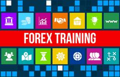 Forex training concept image with business icons and copyspace. Stock Illustration