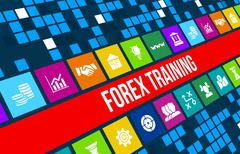 Forex training concept image with business icons and copyspace. - stock illustration