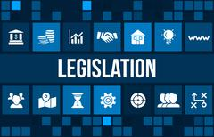 Legislation concept image with business icons and copyspace. Stock Illustration
