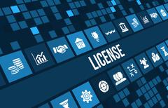 License concept image with business icons and copyspace. - stock illustration