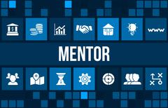 Mentor concept image with business icons and copyspace. - stock illustration