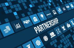Partnership concept image with business icons and copyspace. Stock Illustration