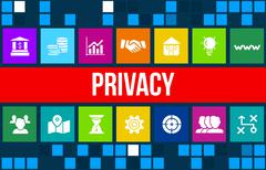 Stock Illustration of Privacy concept image with business icons and copyspace.