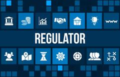 Stock Illustration of Regulator concept image with business icons and copyspace.