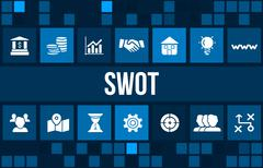 Swot concept image with business icons and copyspace. - stock illustration