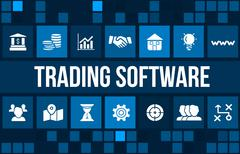 Trading software concept image with business icons and copyspace. Stock Illustration
