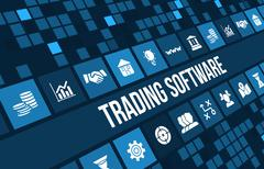 Stock Illustration of Trading software concept image with business icons and copyspace.