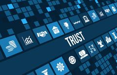 Trust concept image with business icons and copyspace. Stock Illustration