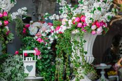 Stock Photo of beautiful composition of flowers and architectural elements