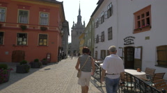 The Clock Tower seen from Fortress Square, Sighisoara Stock Footage