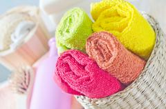 Color towels Stock Photos