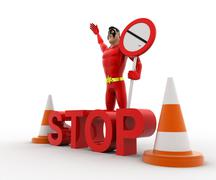 3d superhero stoping from entering with stop sign board and traffic cones con Stock Illustration
