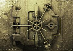Grunge bank vault - stock photo