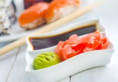 Ginger, vasabi and soy sauce in white bowl Stock Photos