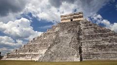 El Castillo (The Kukulkan Temple) of Chichen Itza, mayan pyramid in Yucatan - stock footage