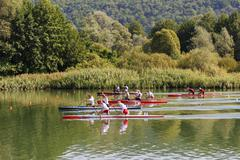 Participants in the European championship junior and youth kayak-canoe in 201 - stock photo