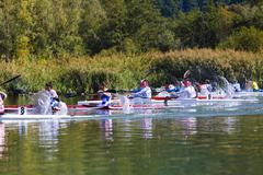 Participants in the European championship junior and youth kayak-canoe in 201 Stock Photos
