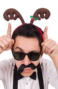 Funny whiskered man with horns isolated on white - stock photo