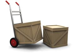 Hand truck with crates - stock photo