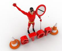 3d superhero stoping from entering with stop sign board and traffic cones con - stock illustration