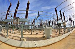 Stock Photo of High voltage switchyard in fisheye perspective