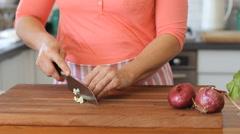 How to chop Garlic bulbs Stock Footage