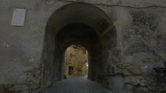 Passage and arch on Turnului Street, Sighisoara Stock Footage