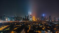 Kuala Lumpur skyline midnight timelapse Stock Footage