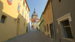 The Clock Tower seen from Turnului Street, Sighisoara Stock Footage