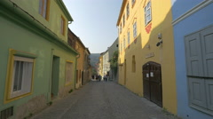 Tourists walking on Turnului Street, Sighisoara Stock Footage