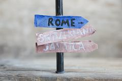 Directions to different places. - stock photo