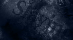 Blue Tint Horror Words Background Stock Footage