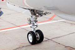Wheel chassis of airplane Stock Photos