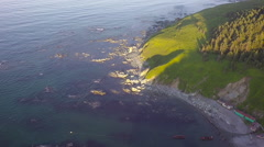 View from air on the ocean coast of Sakhalin Stock Footage