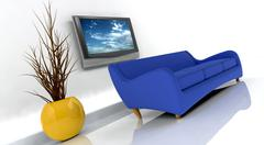3d render of sofa and tv Stock Photos