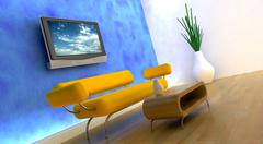 3d render of sofa and tv - stock photo