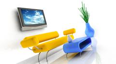 Stock Photo of 3d render of sofa and tv