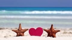 Honeymoon on caribbean beach Stock Footage