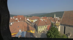 Museum Square seen from the Clock Tower, Sighisoara Stock Footage