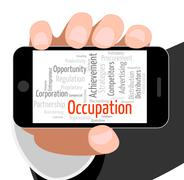 Occupation Word Shows Line Of Work And Career Stock Illustration