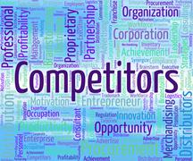 Competitors Word Shows Opponent Wordclouds And Opposition - stock illustration