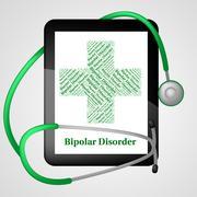 Bipolar Disorder Represents Manic Depressive Psychosis And Ailme - stock illustration
