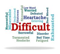 Difficult Word Indicates Fatiguing Tough And Punishing Stock Illustration