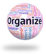 Organize Word Represents Wordclouds Structured And Manage Stock Illustration