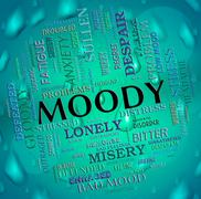 Moody Word Means Wordcloud Moping And Flighty Stock Illustration