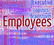 Employees Word Indicates Member Of Staff And Employed Stock Illustration