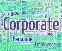 Corporate Word Represents Text Corporations And Executive - stock illustration