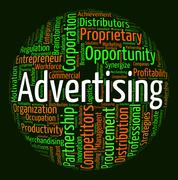 Advertising Word Means Wordcloud Words And Adverts Stock Illustration