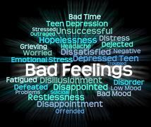 Bad Feeling Indicates Hatred Rancor And Wordcloud Stock Illustration